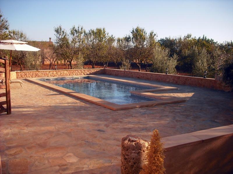 Foto piscina con terraza de losa de piedra de for Terrazas piscinas fotos