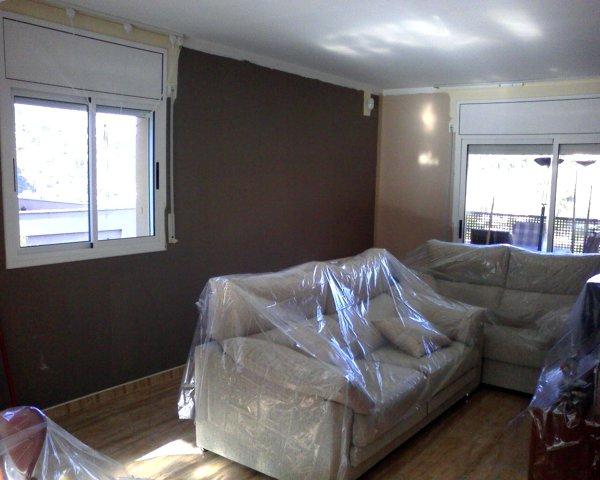 Foto salon comedor pintado en dos colores a juego de for Decoracion pintura salon