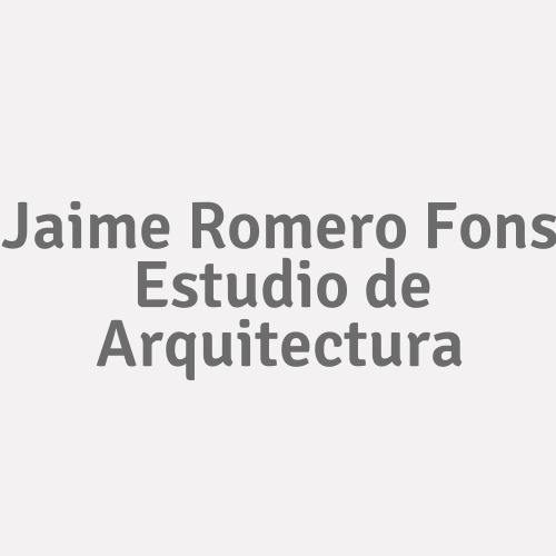 Jaime Romero Fons. Estudio De Arquitectura.