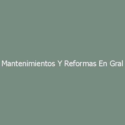 Mantenimientos y Reformas En General