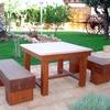 Transporta pale de conjunto de jardin de piedra artificial mesa y bancos incluyendo montaje y sujeccion al piso con cola de albañileria
