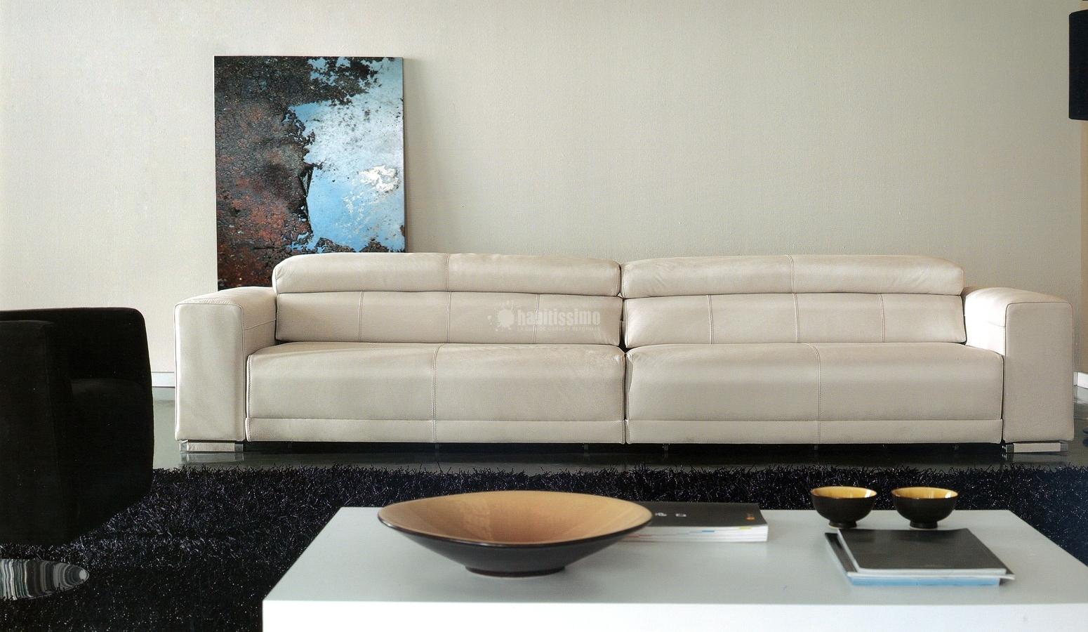Oferta sof 256 piel blanca mando a distancia ofertas for Sofas piel ofertas