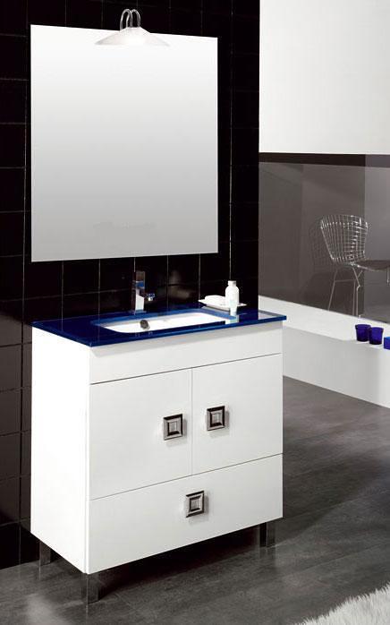 Oferta mueble de ba o de 80 cm blanco encimera cristal for Encimera blanco cristal