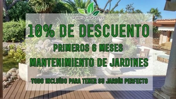 10% de descuento durante los primeros 6 meses para los nuevos clientes que contraten el servicio de mantenimiento de su jardín en un contrato de un año con Jardinería Castañares.  (Madrid)