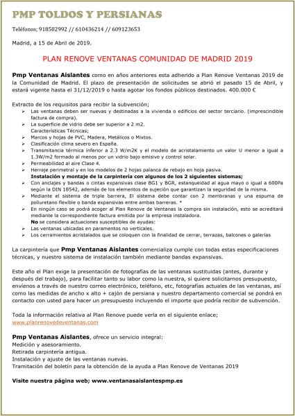Plan RENOVE de VENTANAS 2019 Comunidad de Madrid