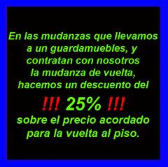 """25% de descuento en """"Mudanzas de vuelta al piso"""""""