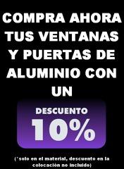 descuento del 10 % en ventanas y puertas