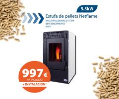???? ¡Pack oferta! Estufa de Pellet Netflame 5,5kW + instalación