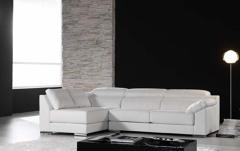 sofa chaise longue omega piel blanca