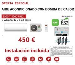 Suministro e instalación de aire acondicionado con bomba de calor con opción a wifi