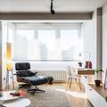 Salón blanco y madera