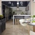 cocina combinada en aluminio, acero y cristal