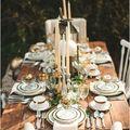 decoración de una mesa rústica exterior