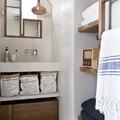 baño rústico microcemento y madera