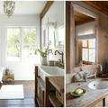 Baño rústico con mucha madera