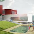 Casa C_Piscina exterior y Salón