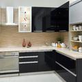 Cocina con muebles lacado negro brillo
