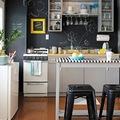 Cocina con pared de pizarra y frigorífico mini