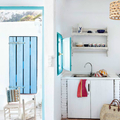 cocina ventana azul