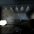 decoración bar: celosías metálicas para separar espacios