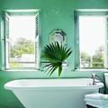 baño con decoración tropical