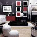 detalles sofisticados en rojo negro y blanco