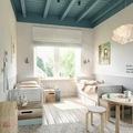 Dormitorio con vigas madera