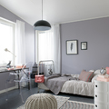 dormitorio pared lilac grey
