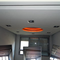 Falso techo de pladur con cupula empapelada y tiras de led