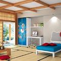 habitación hello kity azul y madera