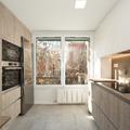 Mobiliario de cocina en blanco y madera de tonos medios