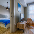Perspectiva salón y dormitorio