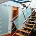 Puerta corredera minimalista ,con vinilo Circulos  ,Cristales  escalera Seda Japones