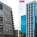 """Rehabilitación de fachadas mediante sistema Fachada Ventilada y Muro Cortina. Edificio """"Rey Pelayo"""" - Plaza del Marqués, 10 - Gijón (Asturias)"""
