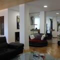 Salon, cocina, tabiqueria de crista, techo de madera, mobiliario