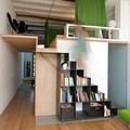 salón con escalera estantería