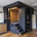 salón con mueble de madera
