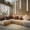 Salón con sofá beige y madera