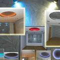 salon decorado con cupulas de pladur y papel pintado