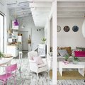Salón en blanco y rosa