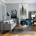 salón en gris y blanco