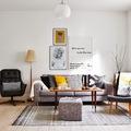Salón en tonos amarillos y grises
