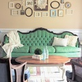 sofá verde vintage