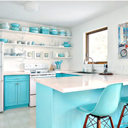 cocina con muebles azules