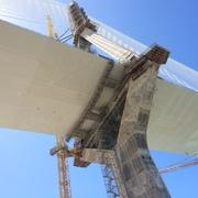 Andamios en pila 13 del nuevo Puente de Cádiz