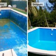 Antes y después reforma piscina