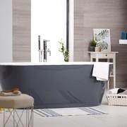Bañera exenta en color gris y blanco