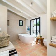 Baño clásico con paredes de cemento y bañera exenta