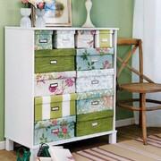 cajas decoradas con papel flores y rayas