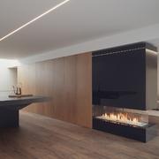 Cocina, chimenea y salón